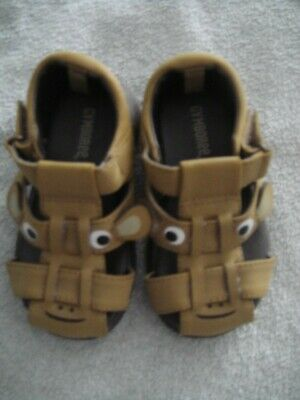NEW Gymboree Stripes in Space Monkey Brown Sandals Shoes Size 6 Toddler