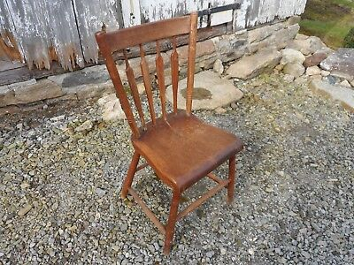 Antique Mid 19th C. Maple Wood PA Arrowback Windsor Signed Plank Bottom Chair