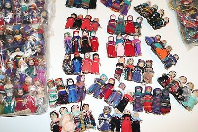 120 Hand made Multi-Color Guatemalan Worry Dolls Hair Barrettes Below Wholesale