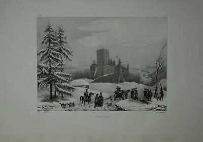 Castle Waldau. Winter View on the Ruins Waldau, Horse-Drawn Carriage and Zah