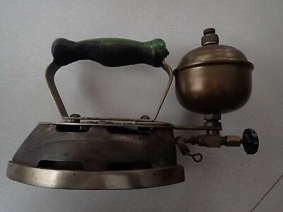 Antique Cast Iron GREEN Coleman Gas Powered Clothing Iron Model Magic Instant