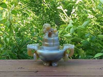 Old Chinese Carved Agate Hard Stone Foo Lion Dragon Tripod Censer