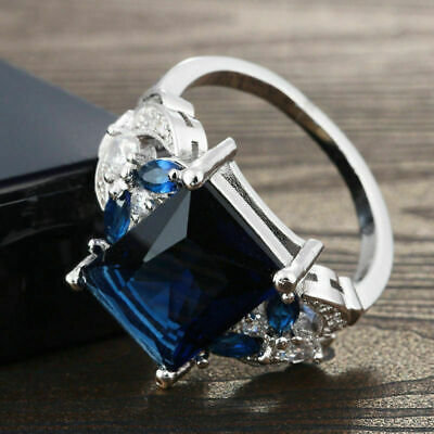 925 Silver Huge Natural 4Ct Tanzanite Ring Bridal Wedding Engagement Size 6-10