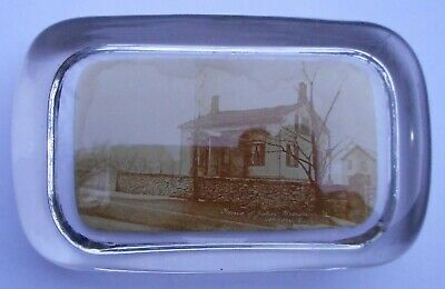 Photo Glass Paperweight of Home Of John Brown Akron Ohio