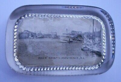 Photo Glass Paperweight of River Front Providence,  R. I.