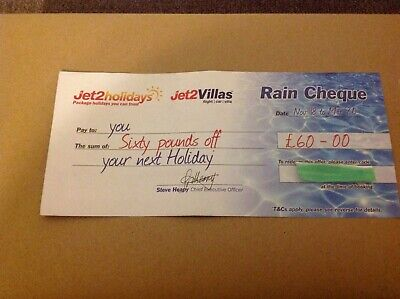 Jet2Holidays £60 Rain Cheque voucher Valid until March 2020