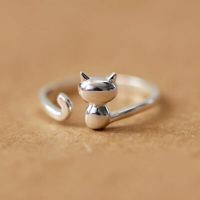 Cute 925 Silver 3D Cat Ring Beautiful Open Adjustable Women Men Animal Jewelry