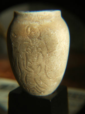 Antiquity 2200 B.C. egg shaped stone vessel incised goddess Astarte