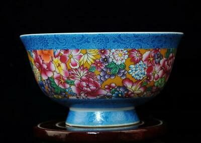 CHINESE PORCELAIN BOWL HAND-PAINTED flowers and plants  QIANLONG MARK b01