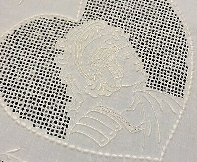 "Vintage Whitework Embroidered Greek Figural 34x35"" Linen Table Topper (RF957-12)"