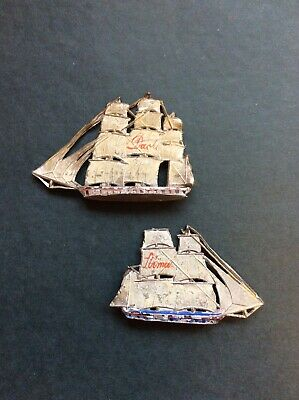 Vintage Retro Kitsch Die Cast Metal Painted Sailing Ships 1950s 50s 1960s 60s