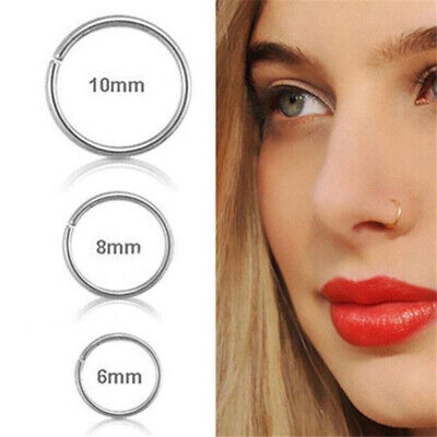3x Stainless Steel Clip on Nose Lip Helix Tragus Ear Fake Piercing Hoop Ring