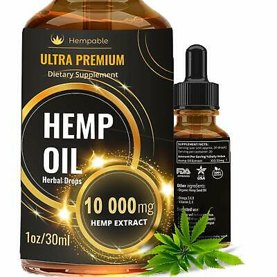 10000mg Organic Hemp Oil Seed Drops Anti Inflammatory Pain Anxiety Stress Joint