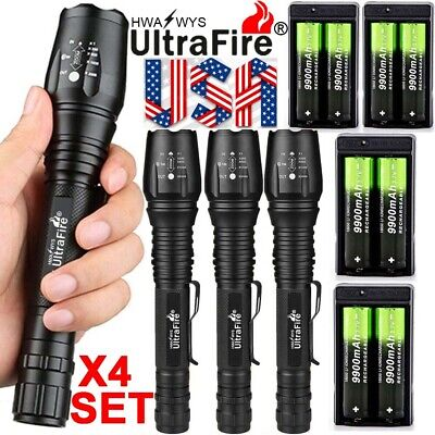 200000LM Ultrafire T6 LED Zoomable Flashlight 18650 battery Torch Lamp Camping