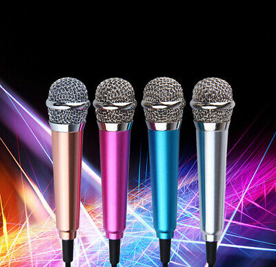 Mini 3.5mm Wired Cell Phone Portable Microphone Stereo Mic for Chatting Singing