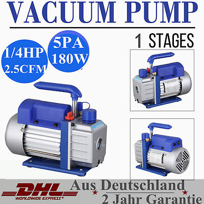 Single Stage Vacuum Pump Rotary Vane 2.5CFM 1/4HP Deep HVAC AC Air Tool Blue New