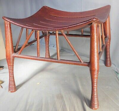 Antique Arts Crafts Egyptian Revival Thebes Stool ORIGINAL Important Design 1900
