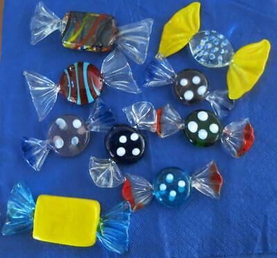 Vintage Murano Nine Art Glass  Lollies