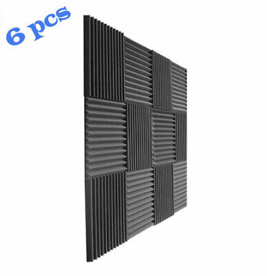 6 Pack Acoustic Panels Studio Foam Wedges Black For Walls Sound Absorbing AWSOME