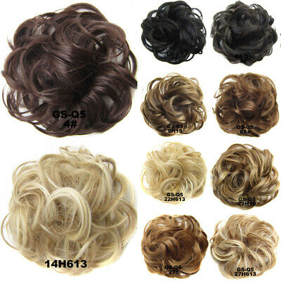 Scrunchie Hair Real Human Natural Curly Messy Bun Hair Piece Updo Extensions