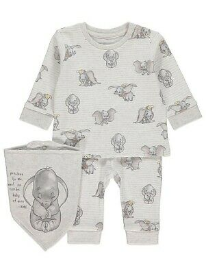 NEW Baby Boys Disney DUMBO Sweatshirt/Jumper Joggers/Trousers Bib 3pc Outfit 6-9