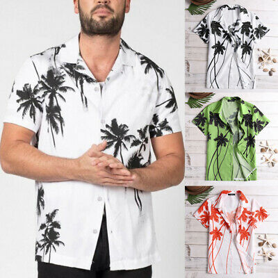 Mens Hawaiian Floral Shirt Short Sleeve Button Surf Beach Holiday Stag Party Top