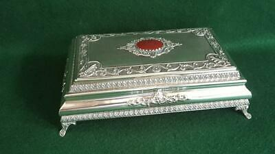 Large Eye-catching 1900s Sterling Silver Vanity Table Trinket Box w Carnelian
