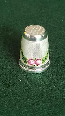 Very Pretty Antique C19th-20th Guilloche Enamelled Sterling Silver Thimble