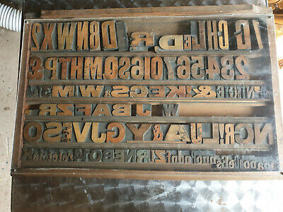 Vintage Printers Wooden Letters in Tray Mixed Sizes