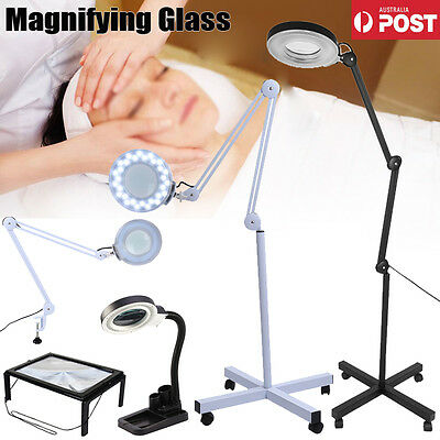 Magnifying Lamp 5/8X Illuminated Light GlassLens Desk Clip/Floor Stand Magnifier