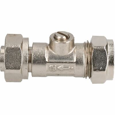 """15mm x 1/2"""" Service Valve Straight Brass Hot or Cold Water Systems Compression"""
