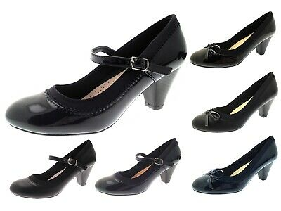 Womens Mary Jane Comfort Shoes Low Block Heel Casual Office Work Court Shoes