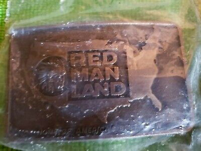 VINTAGE 1970s RED MAN LAND CHEWING TOBACCO BRASS TONE BELT BUCKLE NEW