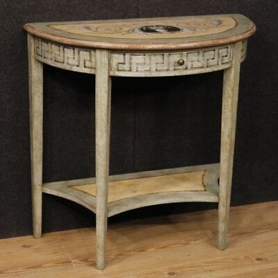 Console Lacquer Living Mobile Table Painted Wood Antique Style Louis XVI 900