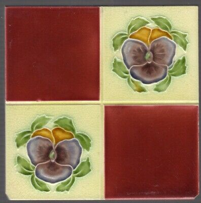 J H Barratt & Co - c1906 - Violet Pansy Quarter Design - Antique Majolica Tiles