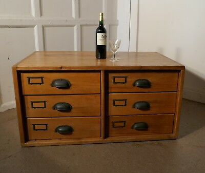 19th Century Pine Filing Cabinet Drawers, Coffee Table