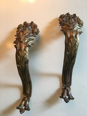 Pair Antique French Gold Gilt Ormolu Cast Brass Drapery Tie Backs