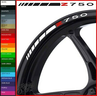 12 x Kawasaki Z750 Wheel Rim Decals Stickers - 20 colors available - z 750 r