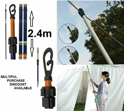 2.4 Meter Metal Washing Cloth Line Prop Extendable Up To Heavy Duty Pole New