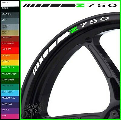 8 x Kawasaki Z750 Wheel Rim Decals Stickers - 20 colors available - z 750 r