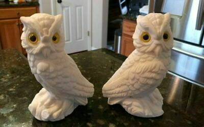 Vintage Pair Porcelain Ceramic Glass White Snow Owl Barn Bird Statue Figurines