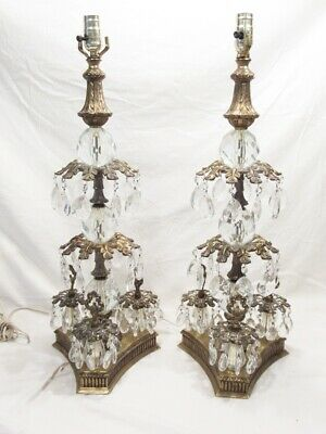 """Pair 28"""" Mid Century Hollywood Regency Table Lamps, Brass w Hanging Crystals"""
