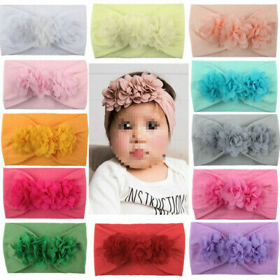 Toddler Girl Kid Baby Big Bow Hairband Headband Stretch Turban Knot Head Wraps