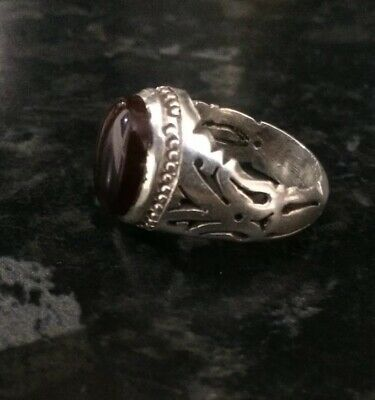 Antique 925 Carved Sterling Silver Mens Ring With Nice Natural Agate