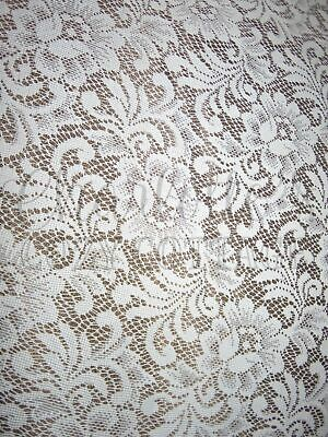 """Rich Romantic Victorian Country Rose Lace vtg Long Single Curtain Panel 62""""L"""