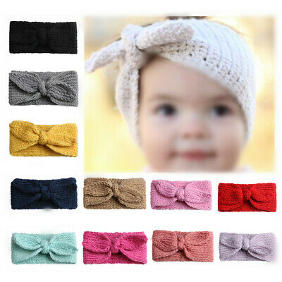 Baby Toddler Girls Headband Crochet Knitted Bow Turban Hair Kid Hair Band Wear