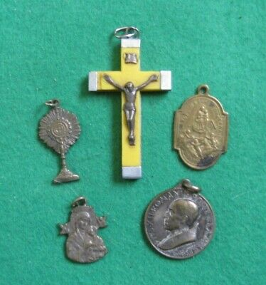 Vintage Religious Medals & Coloured Crucifix