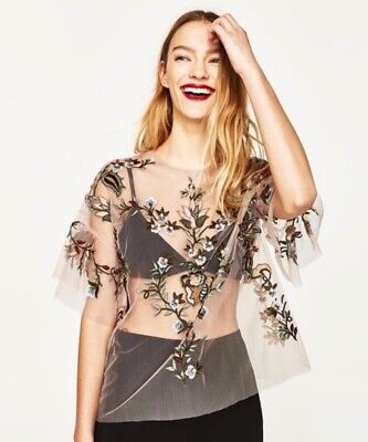 e6344ff6 NWT ZARA SS17 Women Light Pink Tulle Floral Embroidered Top Size L ...