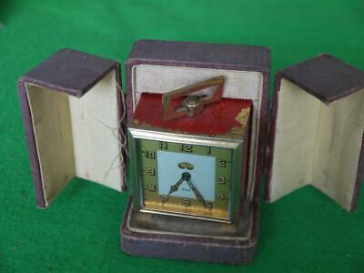 Nice Attractive Working Vintage Art Deco Cased French Jaz Travelling Alarm Clock