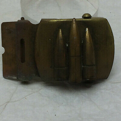 Vintage  Solid Brass Belt Buckle Made in the USA Bullet Design Trench Art